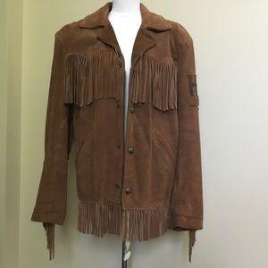 HARLEY DAVIDSON brown suede Fringe coat S M L XL